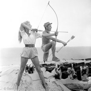 Photo of Dare Wright and Blaine Shooting Arrows on Ocracoke