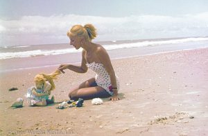 Photo of Dare Wright and Edith on the Beach